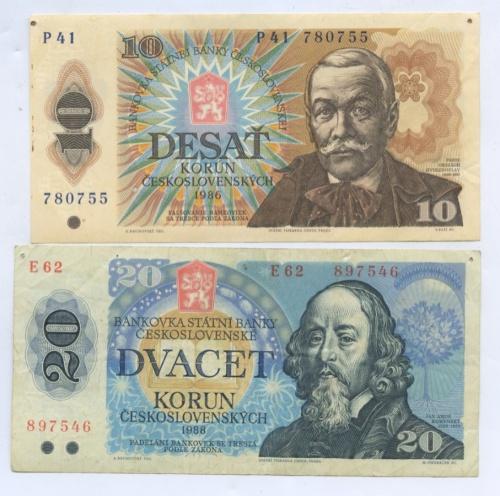Набор банкнот 1986, 1988 (Чехословакия)