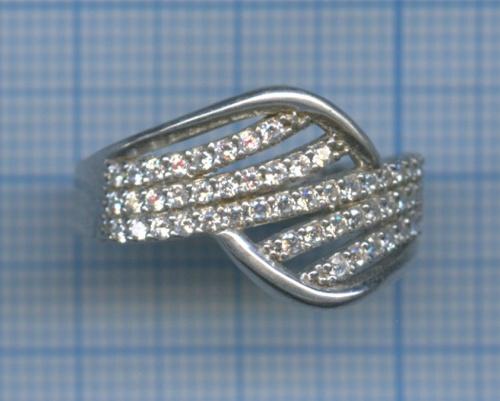 Кольцо (925 проба серебра, с фианитами)