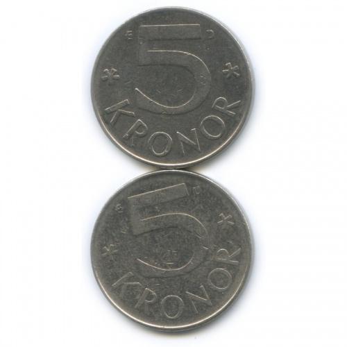 Набор монет 5 крон 1982, 1990 (Швеция)