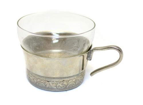 Кофейная пара (мельхиор, стекло, 6 см, 11 см) (СССР)
