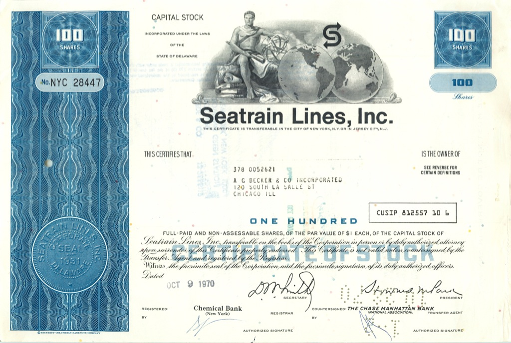 100 акций («Seatrain Lines, Inc») 1970 года (США)