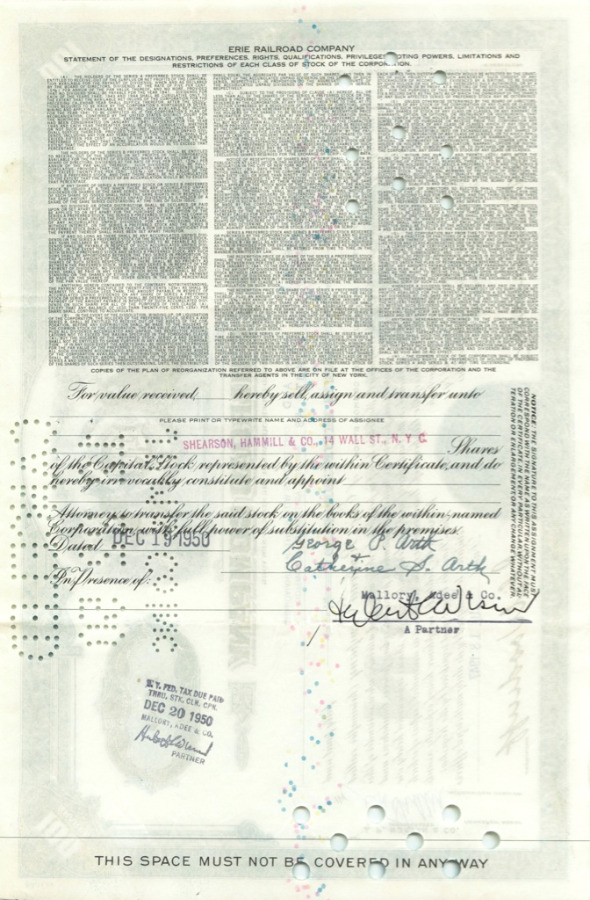 100 акций («Erie Railroad Company») 1947 года (США)
