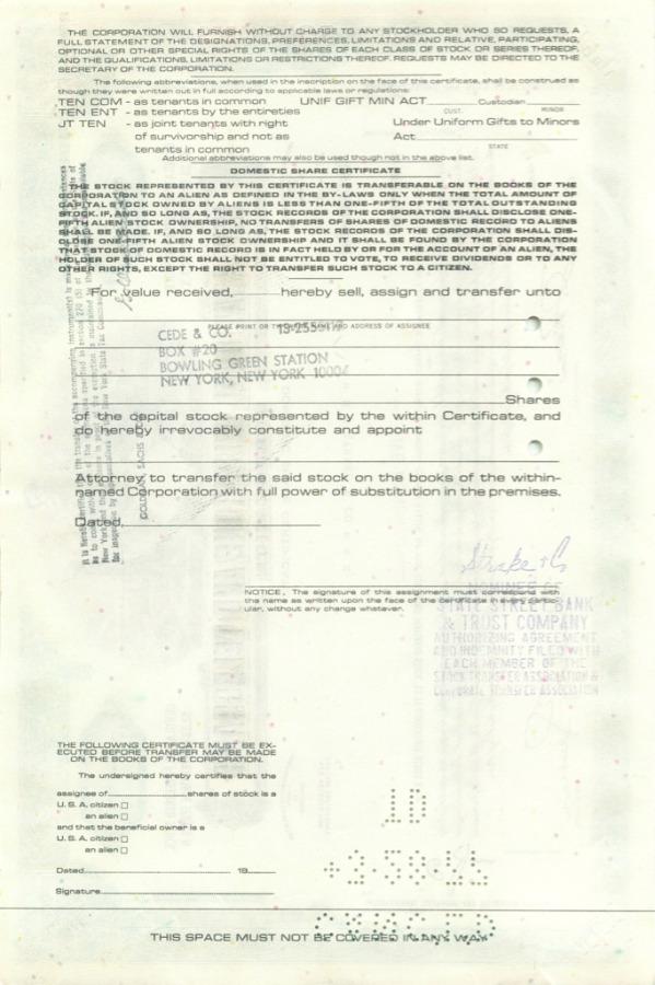 500 акций («International Telephone and Telegraph Corporation») 197(?) (США)