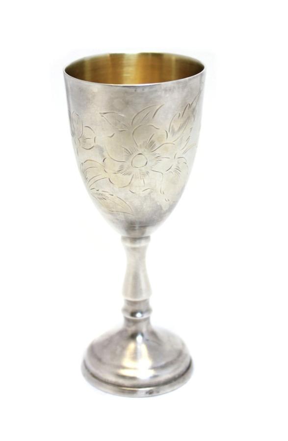 Фужер (серебрение, штихельный рисунок, 10 см)