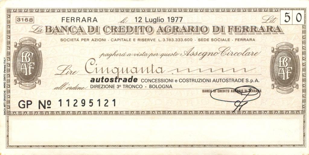 50 лир  (банковый чек) 1977 года (Италия)