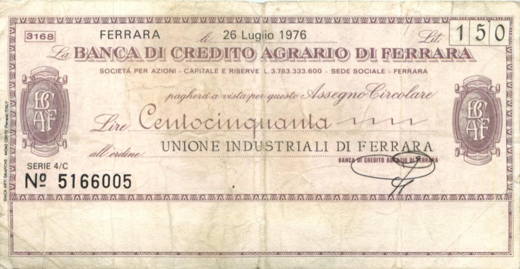 150 лир (банковый чек) 1976 года (Италия)