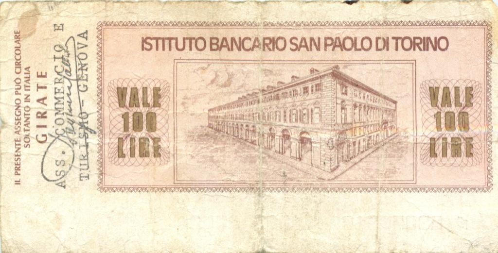 100 лир  (банковый чек) 1976 года (Италия)