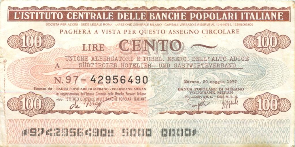 100 лир  (банковый чек) 1977 года (Италия)