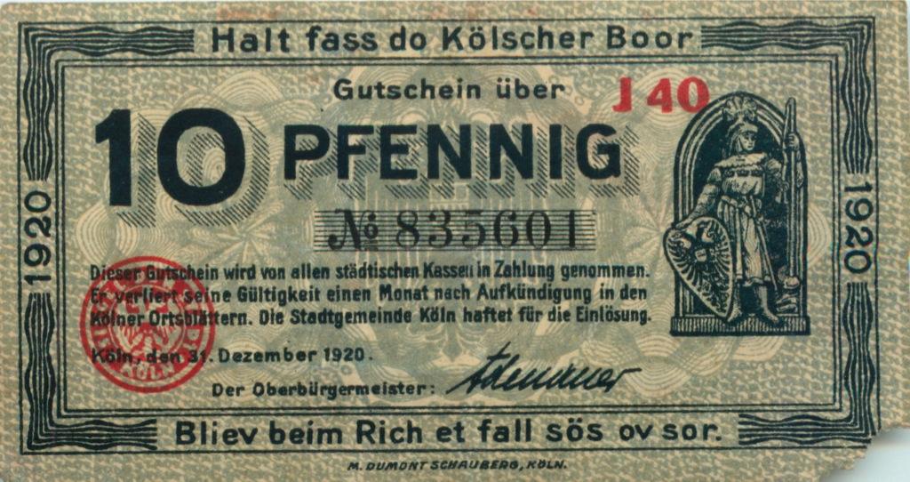 10 пфеннигов (г. Кельн) 1920 года (Германия)