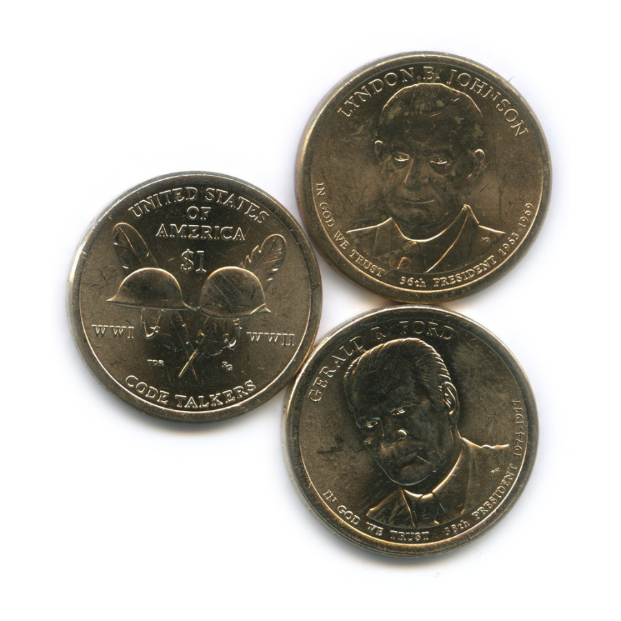 Набор монет 1 доллар - Коренные американцы. Радисты-шифровальщики Первой иВторой мировых войн, Президенты США 2015, 2016 Р, D (США)