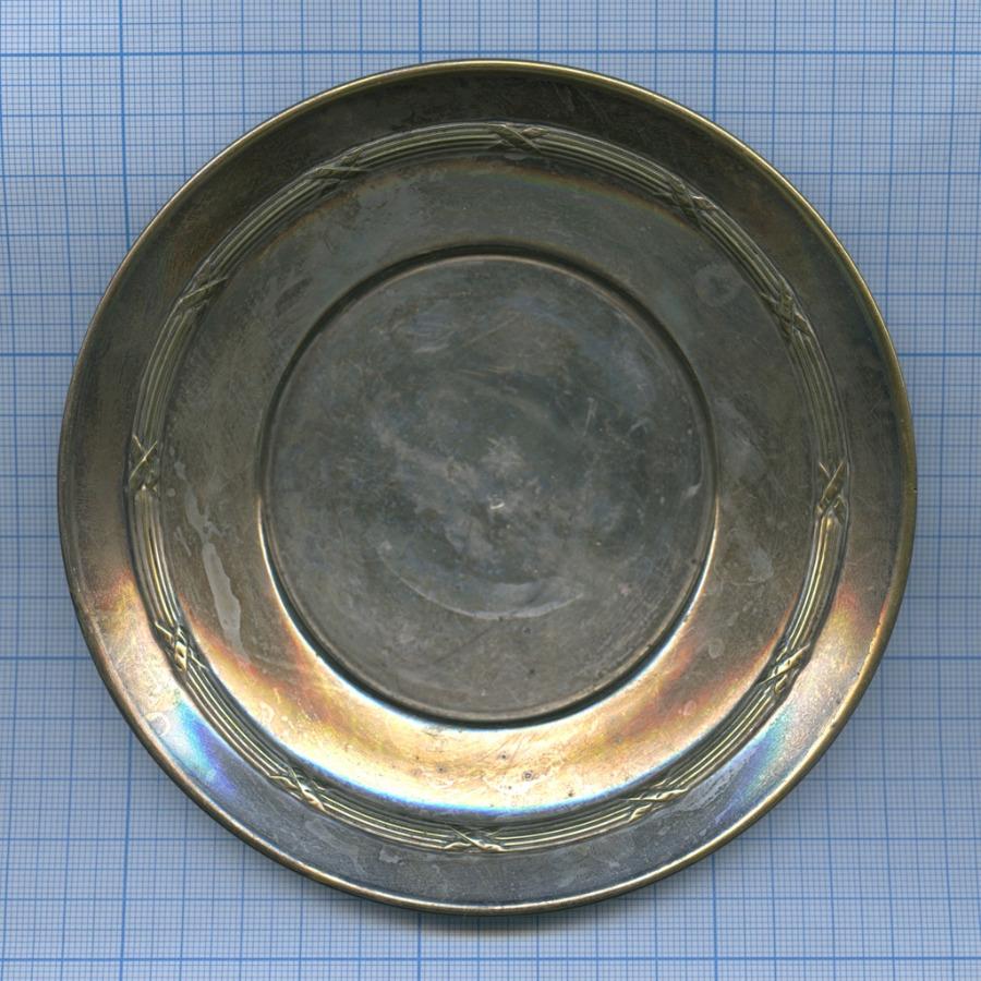 Блюдце (серебрение, клеймо, Европа, диаметр 14 см)