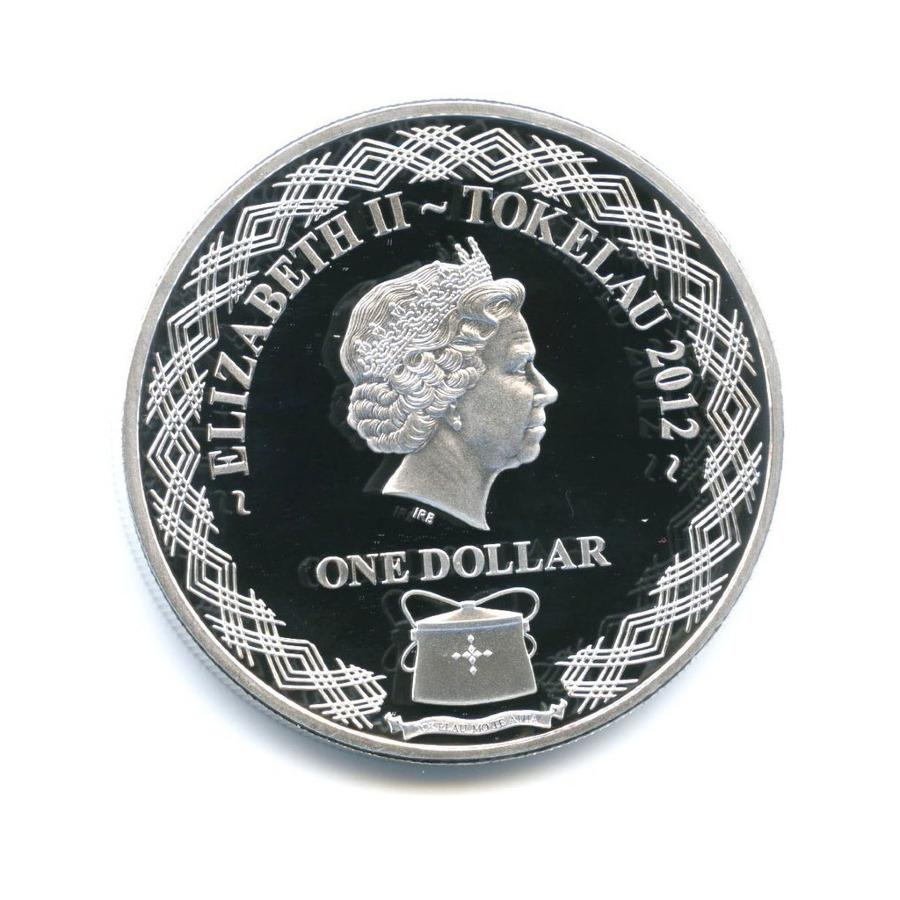 1 доллар - Природа Токелау - Краснохвостый фаэтон (цветная эмаль, серебрение) 2012 года (Новая Зеландия)