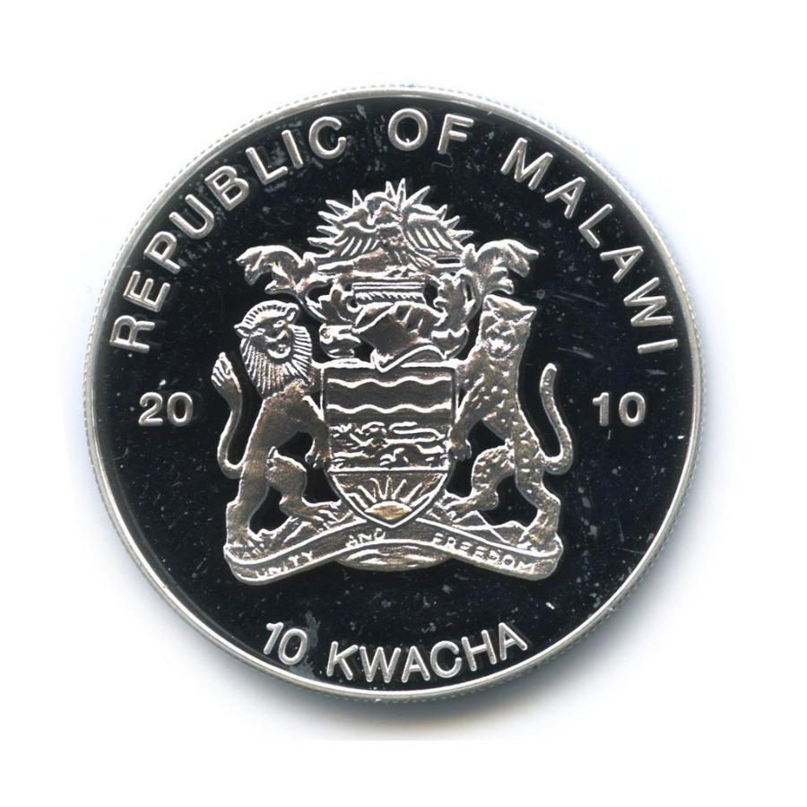 10 квача - Лягушки, находящиеся под угрозой исчезновения - Древолаз, Малави (серебрение, цветная эмаль) 2010 года