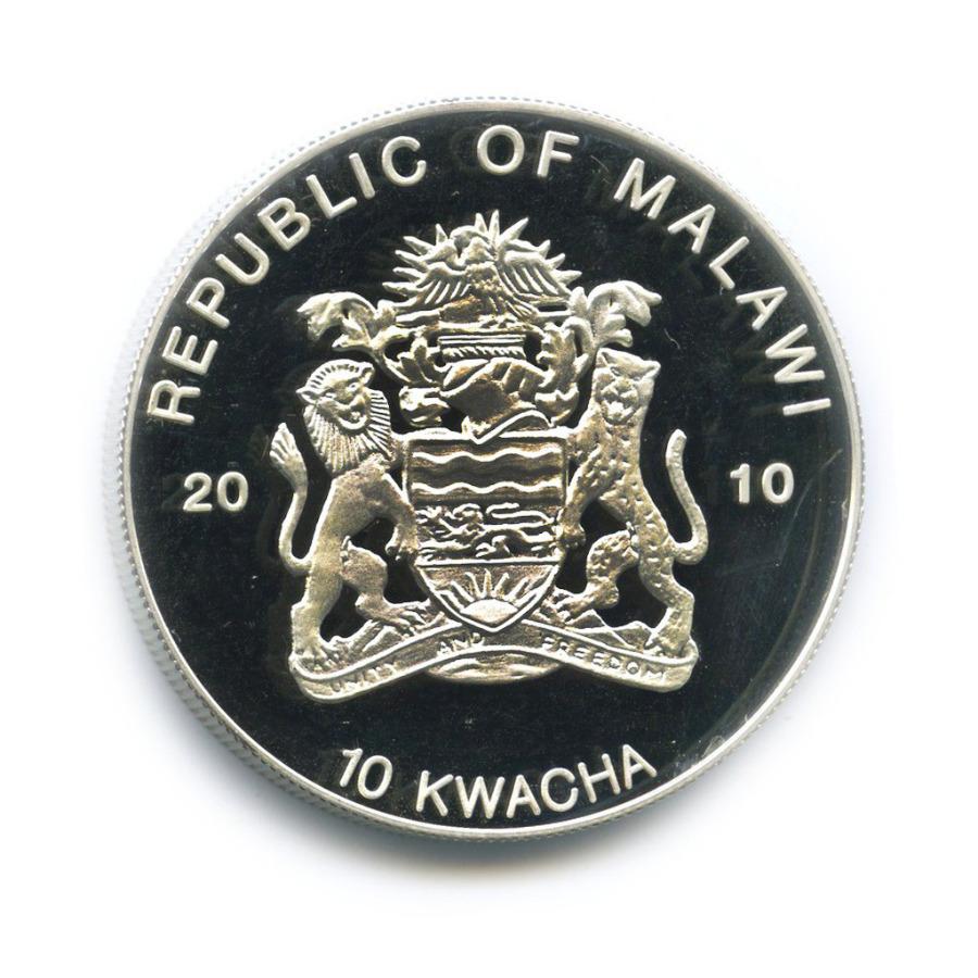 10 квача - Лягушки, находящиеся под угрозой исчезновения - Древесная лягушка, Малави (серебрение, цветная эмаль) 2010 года