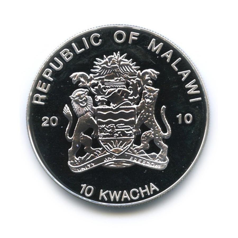 10 квача - Лягушки, находящиеся под угрозой исчезновения - Голубой древолаз, Малави (серебрение, цветная эмаль) 2010 года