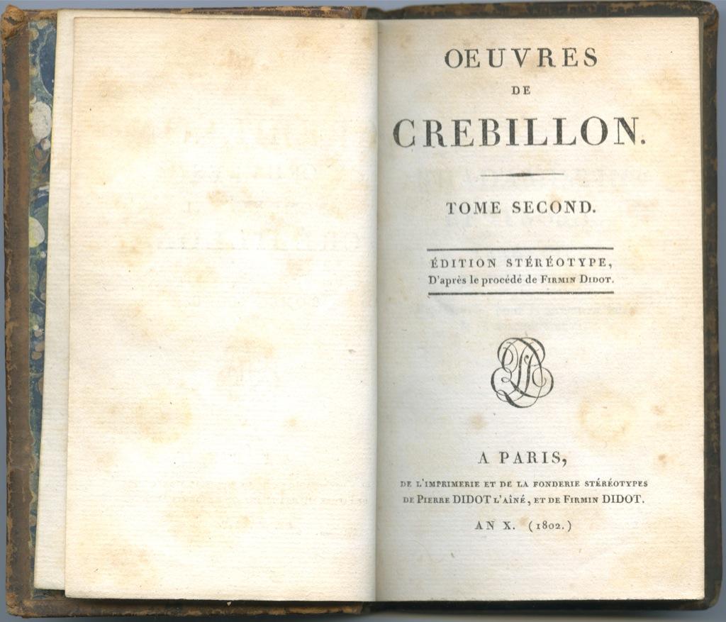 Книга «Произведения Кребийона», 2 том, Париж, 203 стр. 1802 года (Франция)