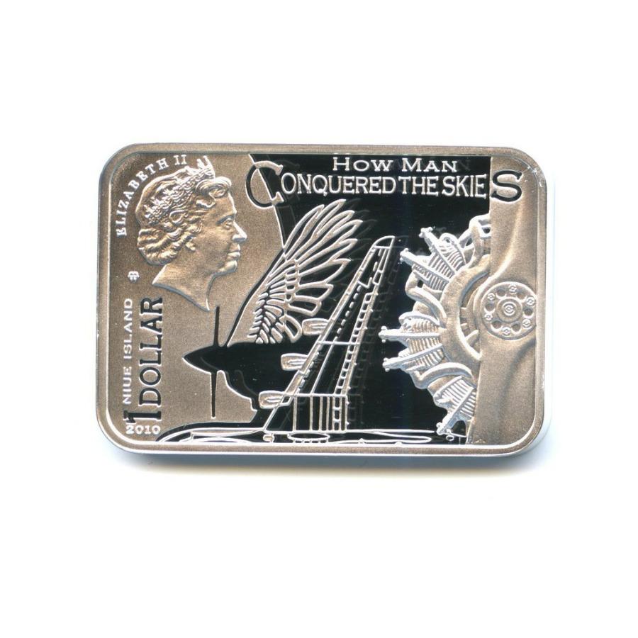 1 доллар - Как человек покорил небо - Икар, ссертификатом, Остров Ниуэ (в футляре, ссертификатом) 2010 года