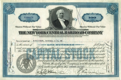 100 акций («The New York Central Railroad Company») 1941 года (США)
