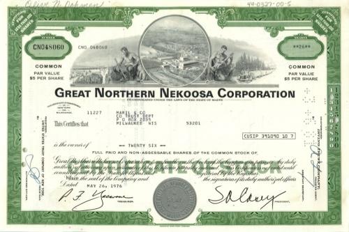 26 акций («Great Northern Nekoosa Corporation») 1976 года (США)