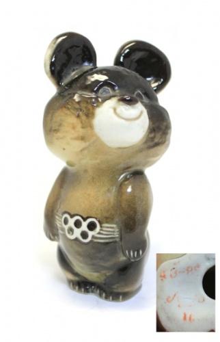 Фигурка «Олимпийский мишка» (11 см) ЛФЗ (СССР)