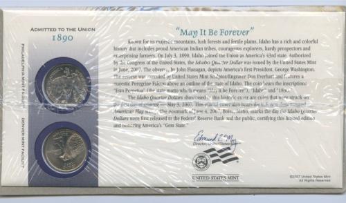 Набор монет 25 центов (квотер) — Квотер штата Айдахо 2007 года (США)