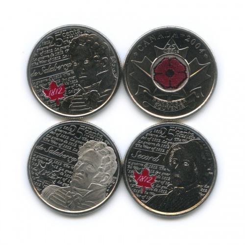 Набор юбилейных монет 25 центов (квотер) 2004, 2013 (Канада)