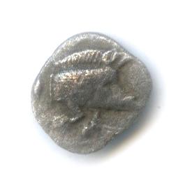 Гемиобол - Мизия (Кизик), 480-450 гг. до н. э., кабан/лев