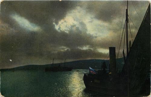 Карточка почтовая «Кавказ. Геленджик. Ночь наморе» (Российская Империя)