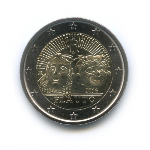 2 евро - 2200 лет содня смерти Тита Макция Плавта 2016 года (Италия)