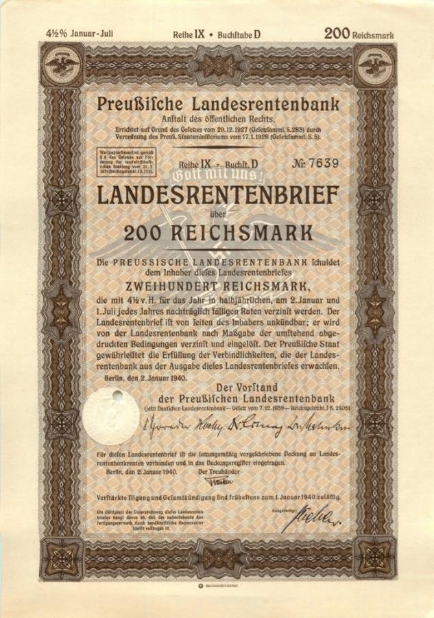 200 рейхсмарок 1940 года (Германия (Третий рейх))