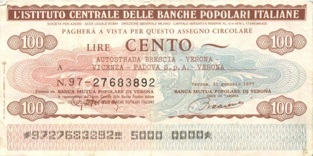 100 лир (банковский чек) 1977 года (Италия)