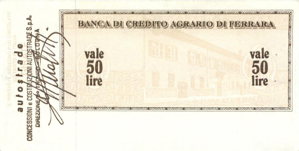50 лир (банковский чек) 1977 года (Италия)