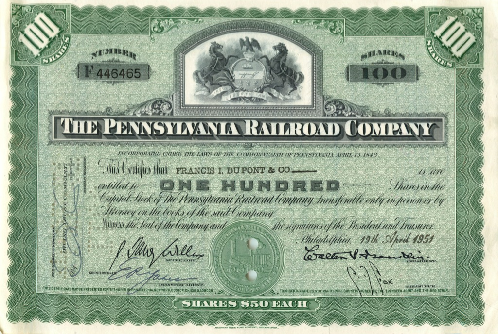 100 акций «The Pennsylvania Railroad Company» 1951 года (США)