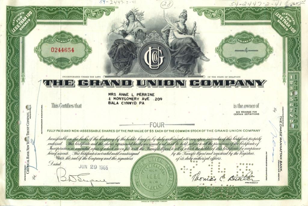 4 акции «The Grand Union Company» 1965 года (США)