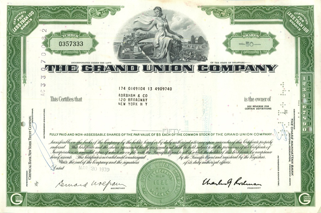 50 акций «The Grand Union Company» 1970 года (США)