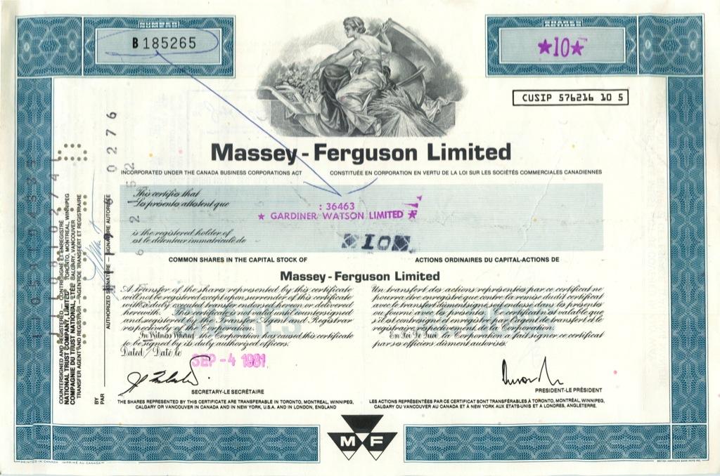10 акций «Massey-Ferguson Limited» 1981 года (США)
