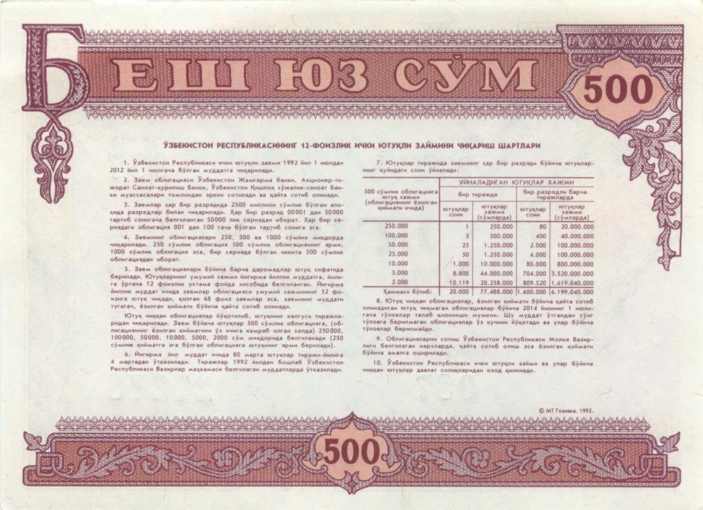 500 сум (первая облигация независимого Узбекистана) 1992 года (Узбекистан)