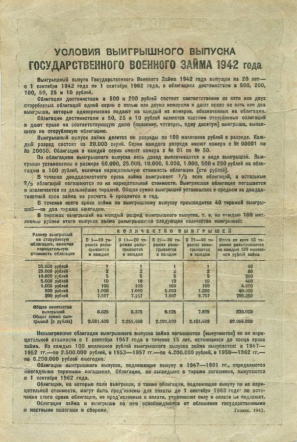 10 рублей (Государственный военный заем, облигация) 1942 года (СССР)