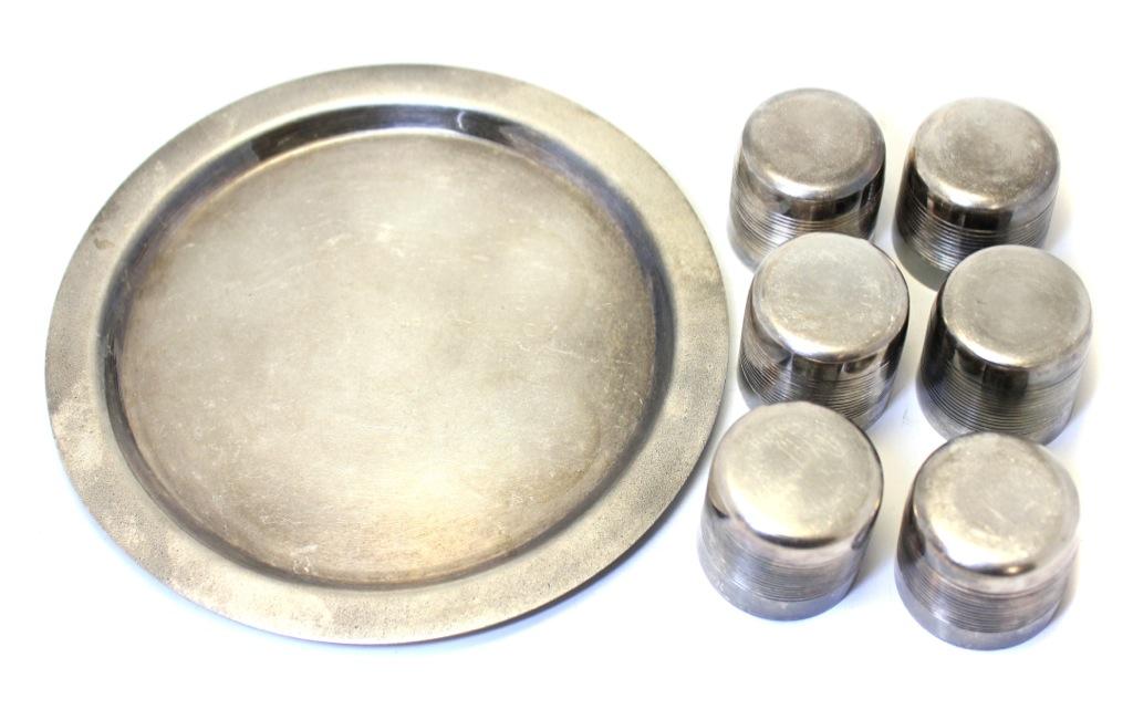 Набор стопок наподносе для ликера/коньяка (золочение, 3,5 см, 16 см) (СССР)
