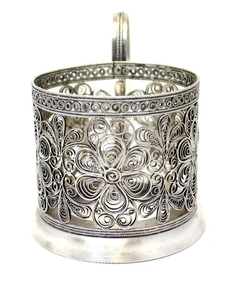 Подстаканник «Цветы» (скань, серебрение, клеймо) (СССР)