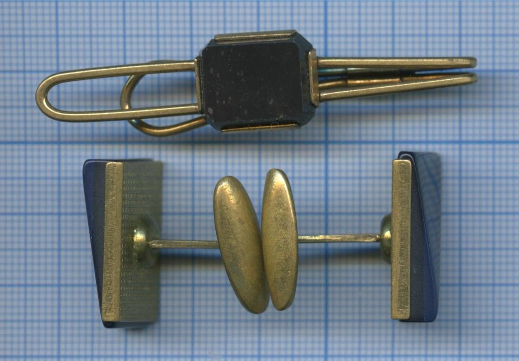 Запонки, зажим для галстука (камни, латунь) (СССР)