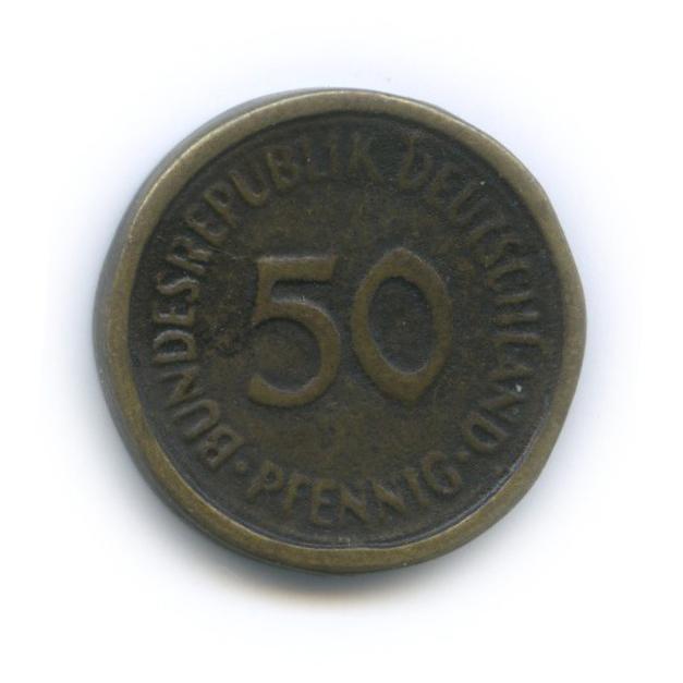 50 пфеннигов (нотгельд), склеена издвух половинок (Германия)