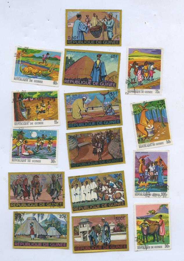 Набор почтовых марок (Гвинея, вконверте СССР)