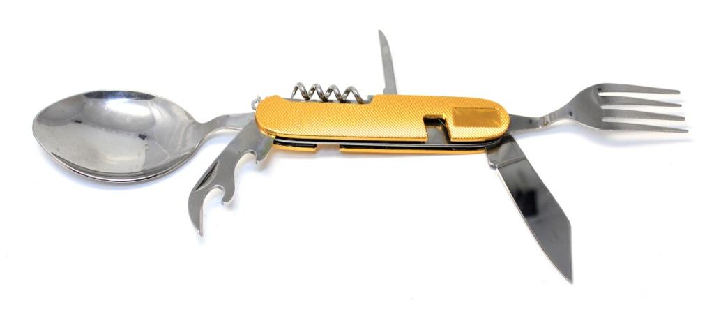 Набор складных столовых приборов 6 в 1 (нож, вилка, ложка, штопор), вчехле