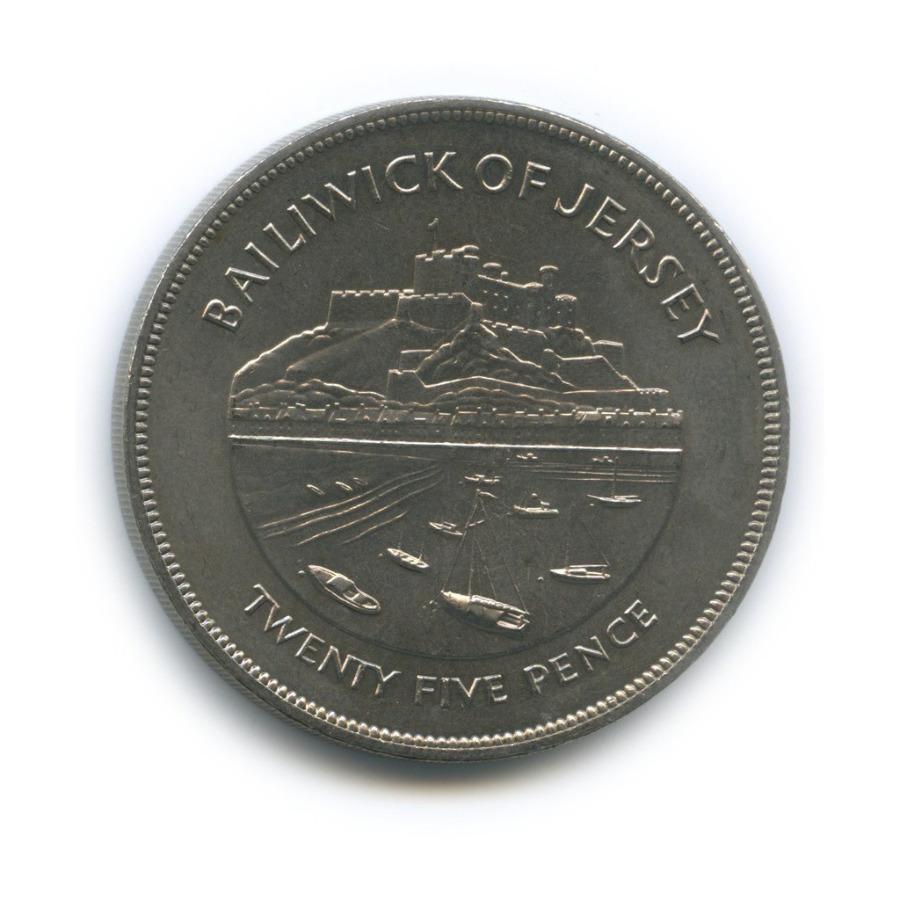 25 пенсов (крона) - Серебряный юбилей правления Королевы Елизаветы II, Джерси 1977 года