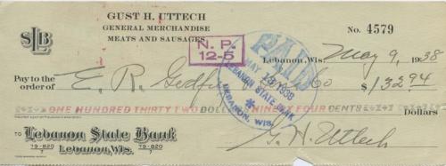 132 доллара 94 цента, (чек банковский) 1938 года (Италия)