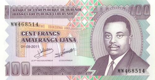 100 франков (Бурунди) 2011 года