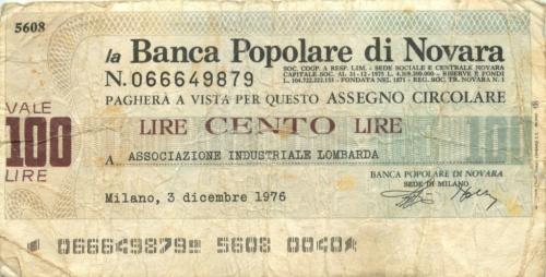 100 лир (банковский чек) 1976 года (Италия)