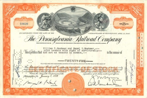 25 акций «The Pennsylvania Railroad Company» 1958 года (США)