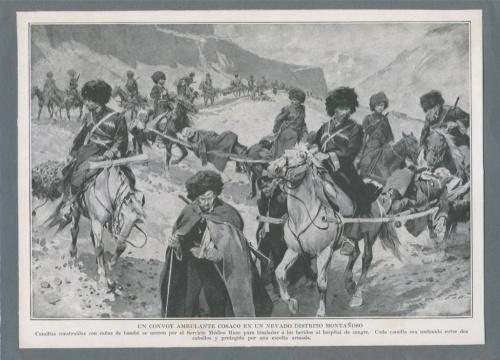 Гравюра «Казаки перевозят раненных набамбуковых носилках» (Кавказ, вторая половина XIX века) (Российская Империя)